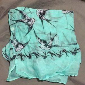 Minty blue bird scarf